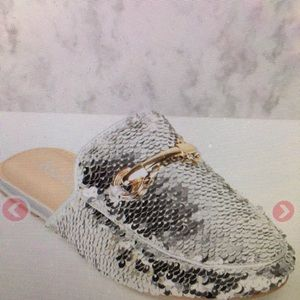 Shoes - Silver bling slip- on shoes